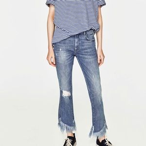 Zara mid rise mini flare jeans
